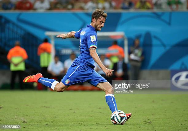 Claudio Marchisio of Italy scores the first goal during the 2014 FIFA World Cup Brazil Group D match between England and Italy at Arena Amazonia on...