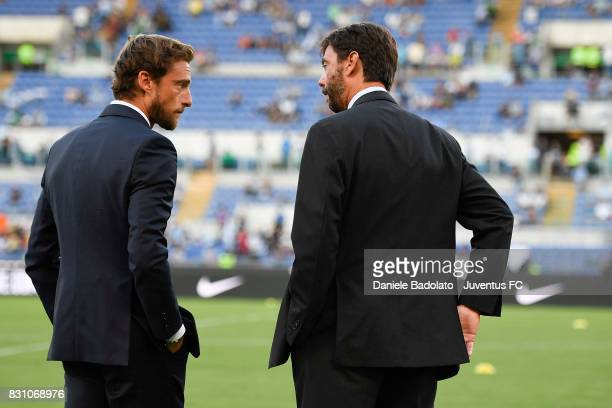 Claudio Marchisio of Juventus and Andrea Agnelli chairman of Juventus during the Italian Supercup match between Juventus and SS Lazio at Stadio...