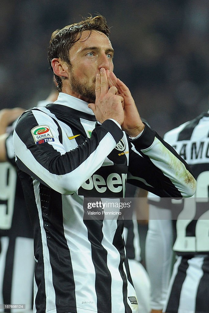 Claudio Marchisio of Juventus celebrates a goal during the Serie A match between Juventus and Torino FC at Juventus Arena on December 1, 2012 in Turin, Italy.
