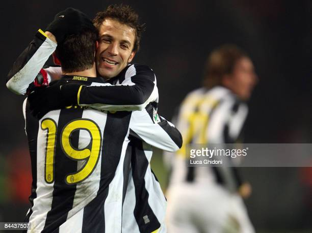 Claudio Marchisio of Juventus celebrates a goal with Alessandro Del Piero during the Serie A match between FC Juventus and ACF Fiorentina at the...