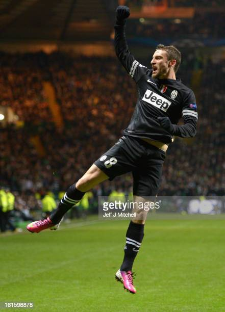 Claudio Marchisio of Juventus celebrates scoring his team's second goal during the UEFA Champions League Round of 16 first leg match between Celtic...