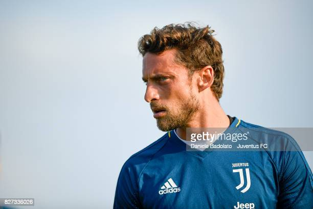 Claudio Marchisio of Juventus during a training session on August 7 2017 in Vinovo Italy