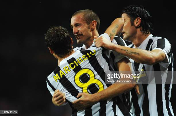 Claudio Marchisio of Juventus FC celebrate his goal with Giorgio Chiellini and Vincenzo Iaquinta during the Serie A match between Juventus FC and AS...