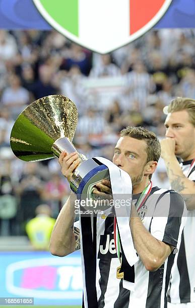Claudio Marchisio of Juventus FC celebrates after the Serie A match between Juventus and Cagliari Calcio at Juventus Arena on May 11 2013 in Turin...