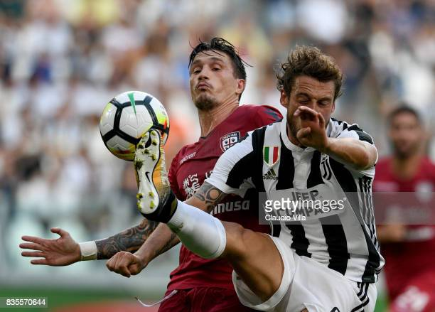 Claudio Marchisio of Juventus FC in action during the Serie A match between Juventus and Cagliari Calcio at Allianz Stadium on August 19 2017 in...