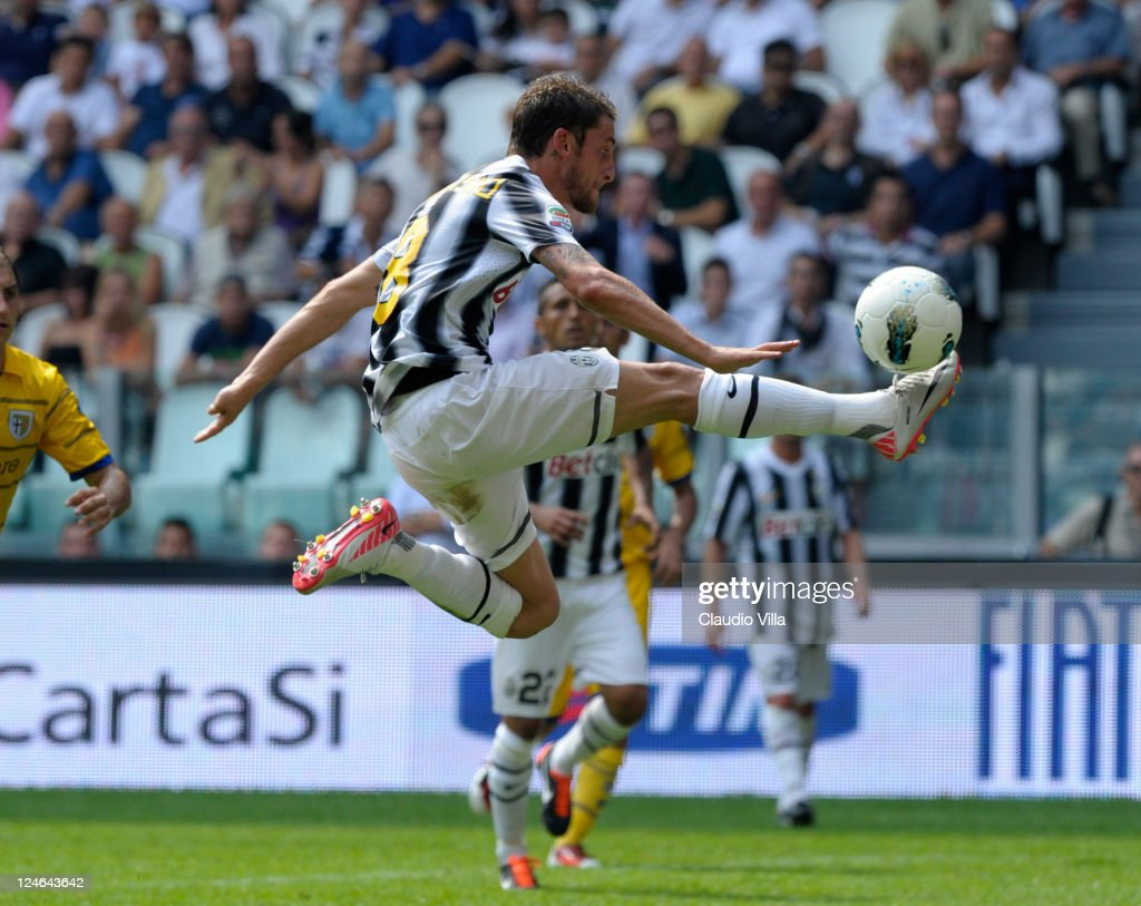 Claudio Marchisio of Juventus FC scores his team's fourth goal during the Serie A match between Juventus FC v Parma FC at Juventus Stadium on September 11, 2011 in Turin, Italy.