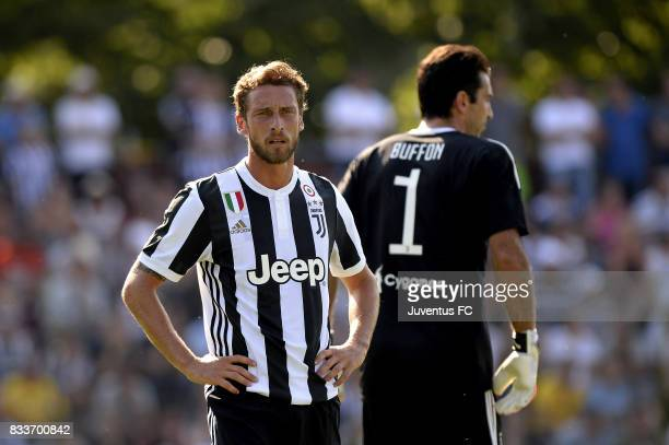 Claudio Marchisio of Juventus looks on during the preseason friendly match between Juventus A and Juventus B on August 17 2017 in Villar Perosa Italy