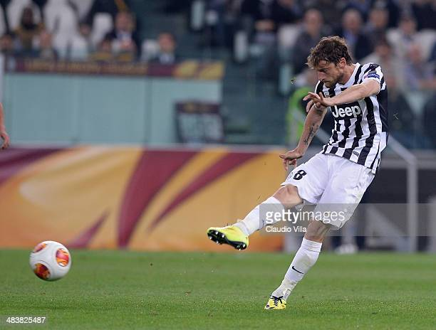 Claudio Marchisio of Juventus scores the second goal during the UEFA Europa League quarter final match between Juventus and Olympique Lyonnais at...
