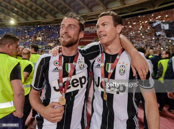 Claudio Marchisio Stephan Lichtsteiner celebrates after winning the TIM Cup Final match against SS Lazio during the Tim Cup football match FC...
