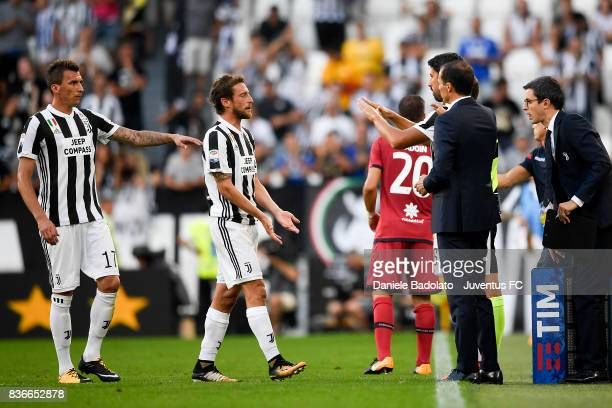 Claudio Marchisio substituted by Sami Khedira during the Serie A match between Juventus and Cagliari Calcio at Allianz Stadium on August 19 2017 in...