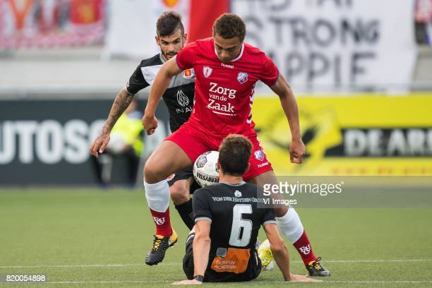 Claudio Pani of Valetta FC Cyriel Dessers of FC Utrecht Juan Cruz Gill of Valetta FC during the UEFA Europa League second qualifying round match...