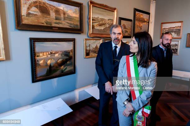 Claudio Parisi Presicce Superintendent Capitoline Cultural Heritage with Virginia Raggi mayor of Rome during the inauguration the new Museum of Rome...