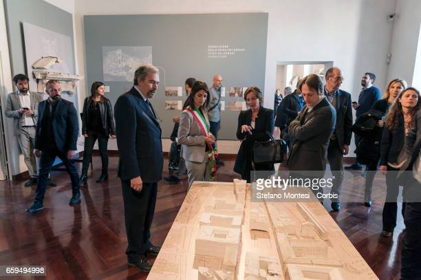 Claudio Parisi Presicce Superintendent Capitoline Cultural Heritage with Virginia Raggi mayor of Rome and Luca Bergamo Deputy Mayor of Rome during...