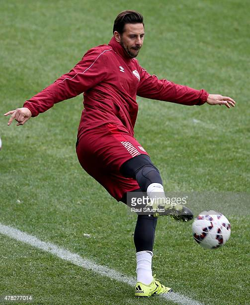 Claudio Pizarro during a training session as part of 2015 Copa America Chile at Estadio German Becker on June 24 2015 in Temuco Chile