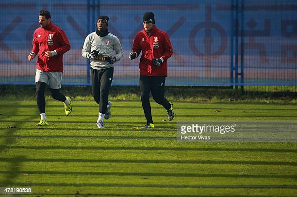Claudio Pizarro Luis Advincula and Carlos Zambrano of Peru during a training session at German Becker Stadium on June 23 2015 in Temuco Chile Peru...