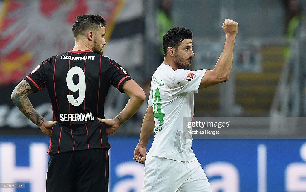 Claudio Pizarro of Bremen celebrates after scoring his team's first goal during the Bundesliga match between Eintracht Frankfurt and Werder Bremen at...
