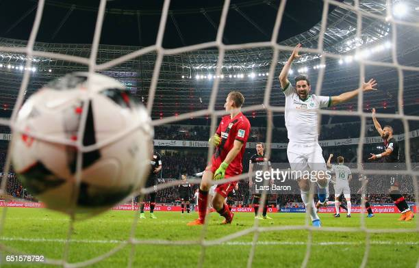 Claudio Pizarro of Bremen celebrates his team's first goal during the Bundesliga match between Bayer 04 Leverkusen and Werder Bremen at BayArena on...