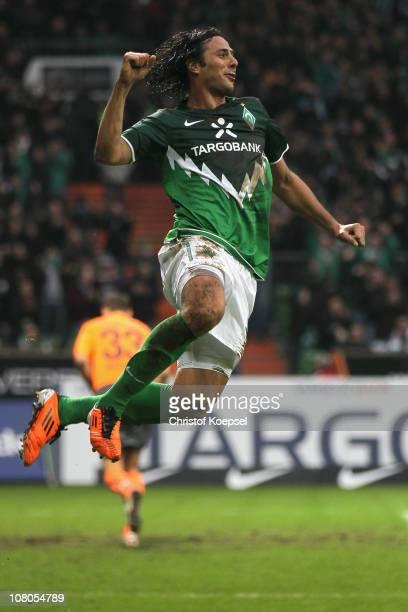 Claudio Pizarro of Bremen celebrates the first goal during the Bundesliga match between SV Werder Bremen and 1899 Hoffenheim at Weser Stadium on...