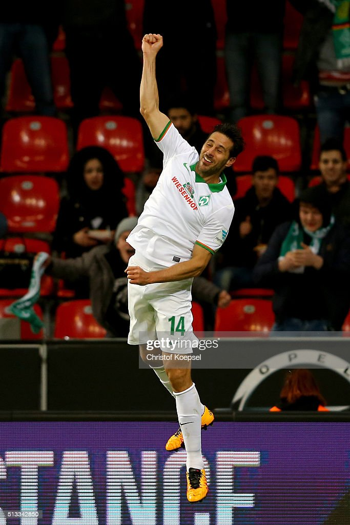 Claudio Pizarro of Bremen celebrates the second goal during the Bundesliga match between Bayer Leverkusen and Werder Bremen at BayArena on March 2...