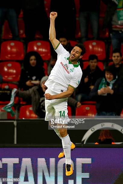 Claudio Pizarro of Bremen celebrates the second goal during the Bundesliga match between Bayer Leverkusen and Werder Bremen at BayArena on March 2...