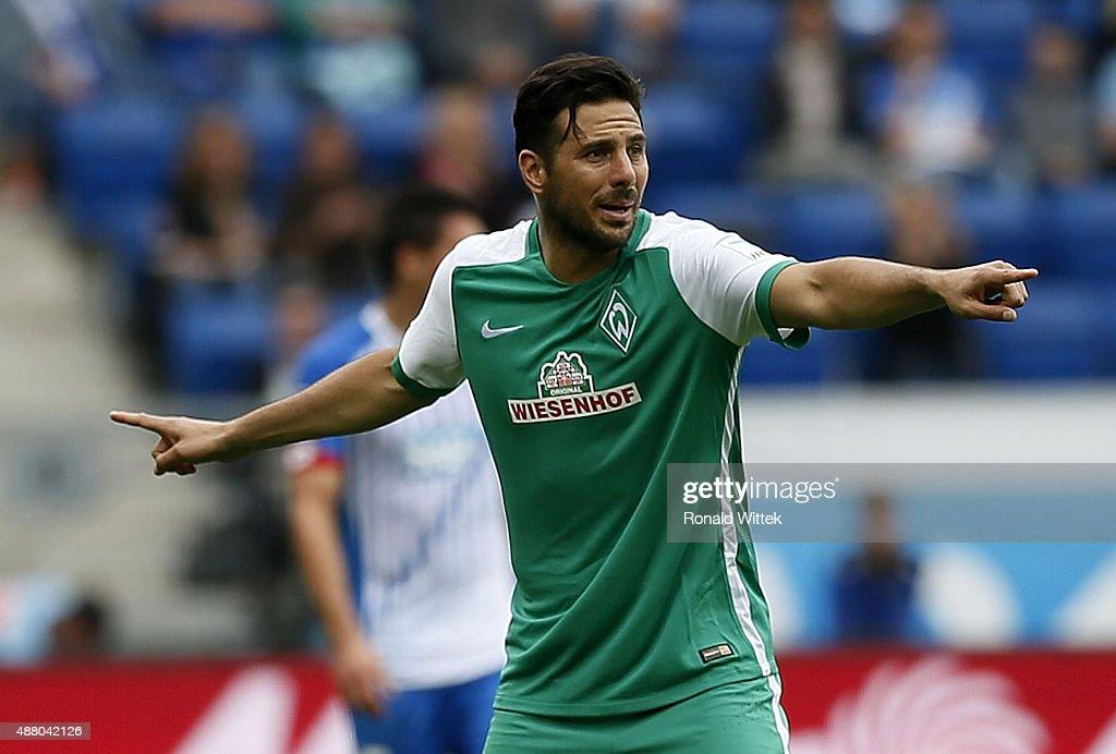 Claudio Pizarro of Bremen gestures during the Bundesliga match between 1899 Hoffenheim and SV Werder Bremen at Wirsol RheinNeckarArena on September...