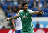 Claudio Pizarro of Bremen gestures during the Bundesliga match between 1899 Hoffenheim and SV Werder Bremen at Wirsol RheinNeckarArena on September...