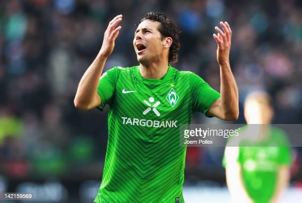 Claudio Pizarro of Bremen gestures during the Bundesliga match between SV Werder Bremen and FSV Mainz 05 at Weser Stadium on March 31 2012 in Bremen...