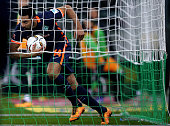 Claudio Pizarro of Bremen gets the ball after scoring his teams first goal during the Bundesliga match between Borussia Moenchengladbach and Werder...