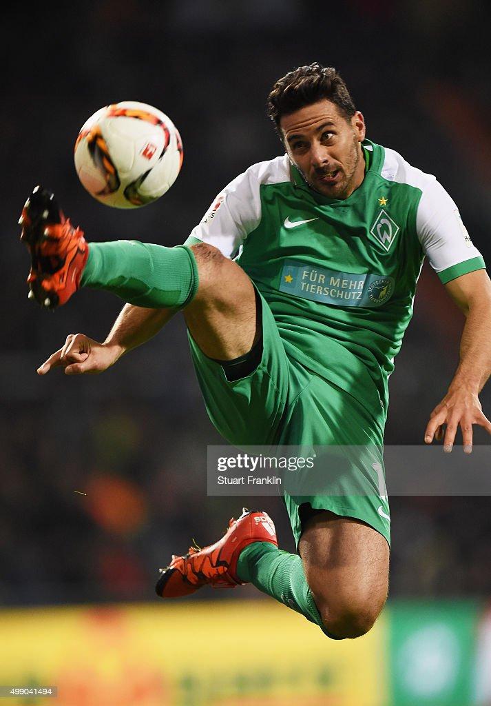 Claudio Pizarro of Bremen in action during the Bundesliga match between Werder Bremen and Hamburger SV at Weserstadion on November 28 2015 in Bremen...