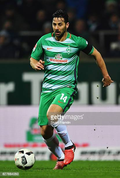 Claudio Pizarro of Bremen in action during the Bundesliga match between Werder Bremen and FC Ingolstadt 04 at Weserstadion on December 3 2016 in...