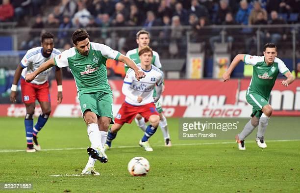 Claudio Pizarro of Bremen misses a penalty during the Bundesliga match between Hamburger SV and Werder Bremen at Volksparkstadion on April 22 2016 in...