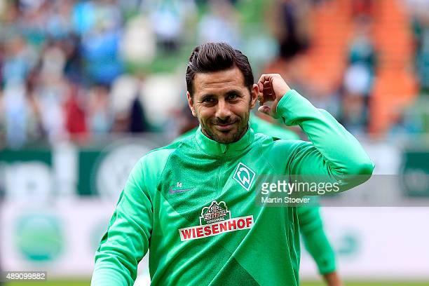Claudio Pizarro of Bremen prior the Bundesliga match between Werder Bremen and FC Ingolstadt at Weserstadion on September 19 2015 in Bremen Germany