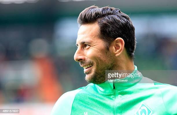 Claudio Pizarro of Bremen reacts during the Bundesliga match between Werder Bremen and FC Ingolstadt at Weserstadion on September 19 2015 in Bremen...