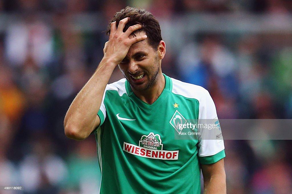 Claudio Pizarro of Bremen reacts during the Bundesliga match between Werder Bremen and Bayer Leverkusen at Weserstadion on September 26 2015 in...