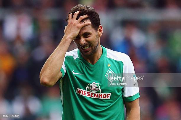 Claudio Pizarro of Bremen reacts during the Bundesliga match between Werder Bremen and Bayer Leverkusen at Weserstadion on September 26 2015 in...