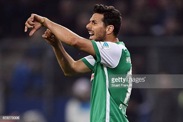 Claudio Pizarro of Bremen reacts during the Bundesliga match between Hamburger SV and Werder Bremen at Volksparkstadion on April 22 2016 in Hamburg...