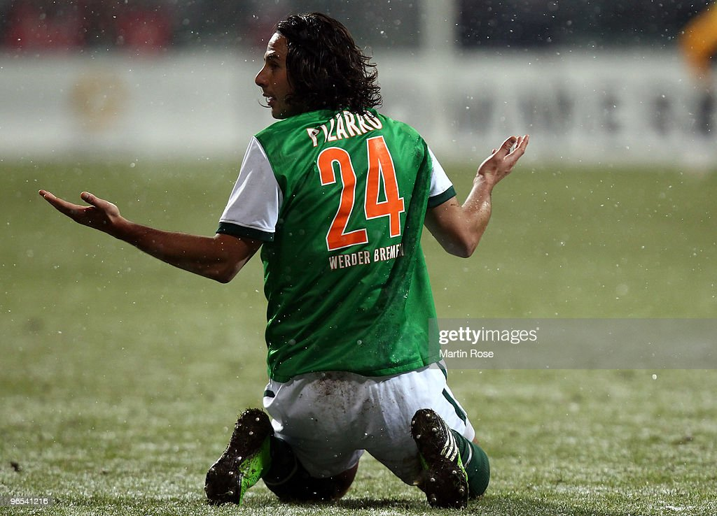 <a gi-track='captionPersonalityLinkClicked' href=/galleries/search?phrase=Claudio+Pizarro&family=editorial&specificpeople=217807 ng-click='$event.stopPropagation()'>Claudio Pizarro</a> of Bremen reacts during the DFB Cup quarter final match between SV Werder Bremen and 1899 Hoffenheim at Weser Stadium on February 9, 2010 in Bremen, Germany.