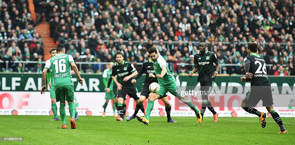 Claudio Pizarro of Bremen scores his goal during the Bundesliga match between Werder Bremen and Hannover 96 at Weserstadion on March 5 2016 in Bremen...