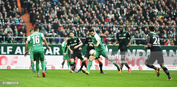Claudio Pizarro of Bremen scores his goal during the Bundesliga match between Werder Bremen and Hannover 96 at Weserstadion on March 5 2016 in Bremen...