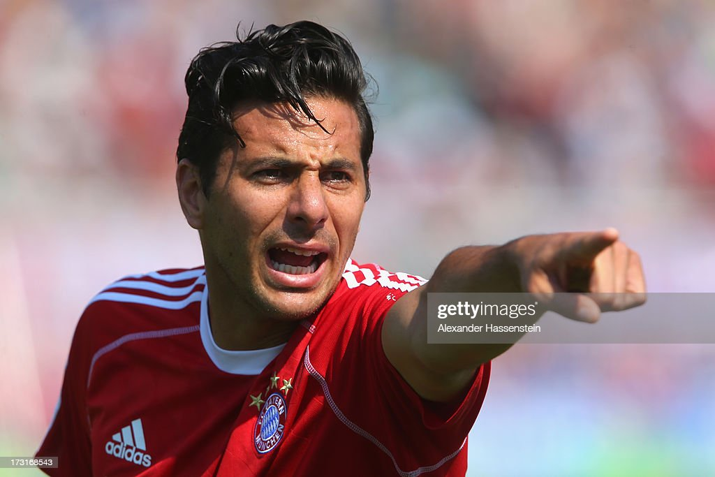 Claudio Pizarro of FC Bayern Muenchen reacts during a training session at Campo Sportivo on July 9, 2013 in Arco, Italy.