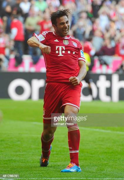 Claudio Pizarro of Muenchen celebrates a goal during the Bundesliga match between FC Bayern Muenchen and 1899 Hoffenheim at Allianz Arena on March 29...