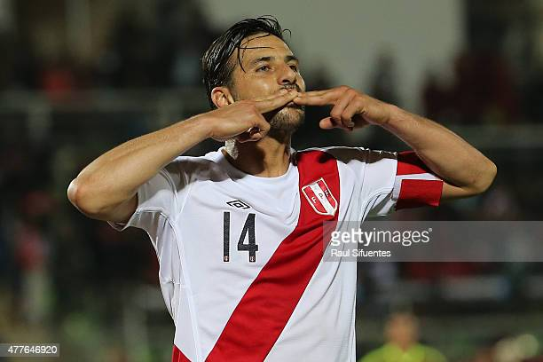 Claudio Pizarro of Peru celebrates after scoring the opening goal during the 2015 Copa America Chile Group C match between Peru and Venezuela at...