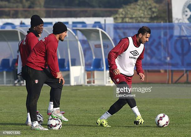Claudio Pizarro of Peru during a training session prior to the debut match against Brazil at Universidad de La Frontera on June 12 2015 in Temuco...