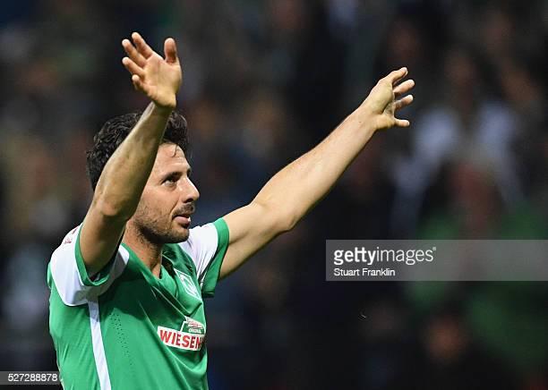 Claudio Pizarro of Werder Bremen celebrates as he scores their fourth goal during the Bundesliga match between Werder Bremen and VfB Stuttgart at...
