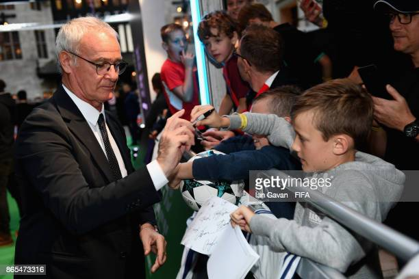 Claudio Ranieri arrives on the green carpet for The Best FIFA Football Awards at The London Palladium on October 23 2017 in London England