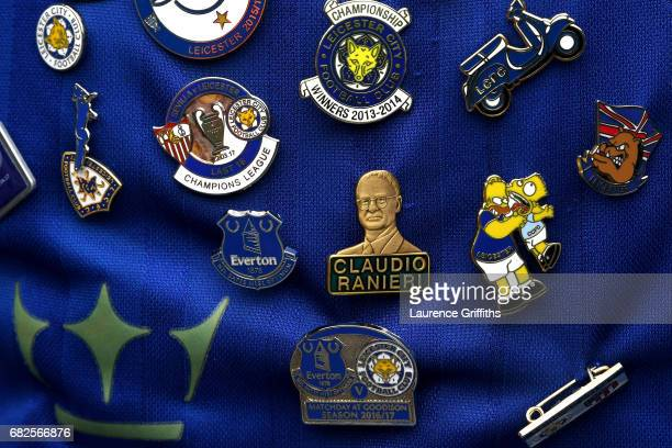 Claudio Ranieri badge is seen on a Leicester City fans shirt prior to the Premier League match between Manchester City and Leicester City at Etihad...