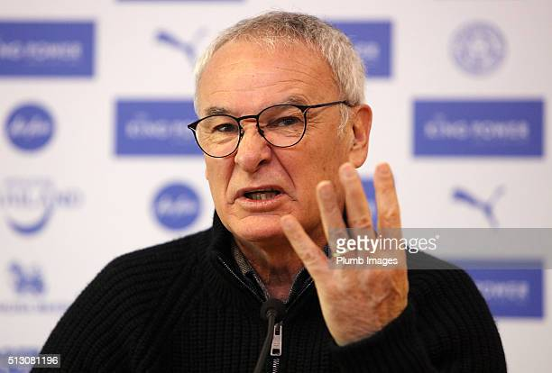 Claudio Ranieri during the Leicester City press conference at King Power Stadium on February 29 2016 in Leicester United Kingdom