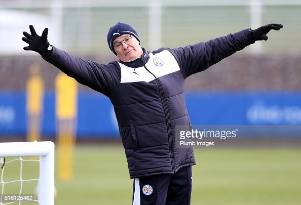 Claudio Ranieri during the Leicester City training session at Belvoir Drive Training Complex on March 17 2016 in Leicester United Kingdom