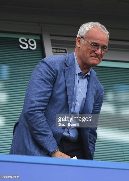 Claudio Ranieri ex Leicester manager looks on prior to the Premier League match between Chelsea and Sunderland at Stamford Bridge on May 21 2017 in...