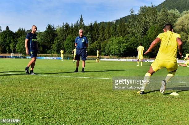 Claudio Ranieri head coach of Nantes and Andrea Azzalin of Nantes during the friendly match between Fc Nantes and Lausanne Sport on July 8 2017 in...